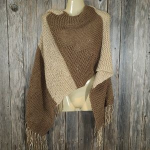 Beige Brown Hand Knitted Shawl Scarf Wrap Boho New